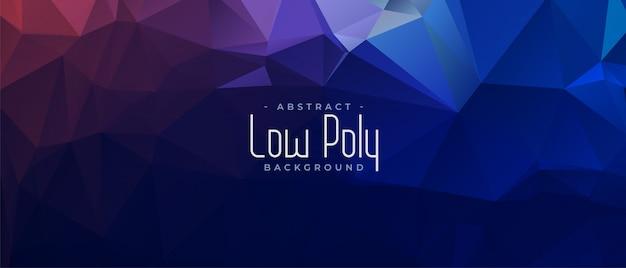 Blauw abstract laag poly driehoekig bannerontwerp