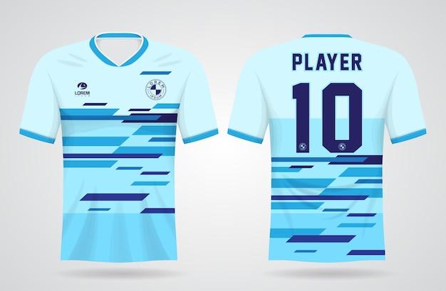 Blauw abstract sportshirt sjabloon voor teamuniformen en voetbal t-shirtontwerp Premium Vector