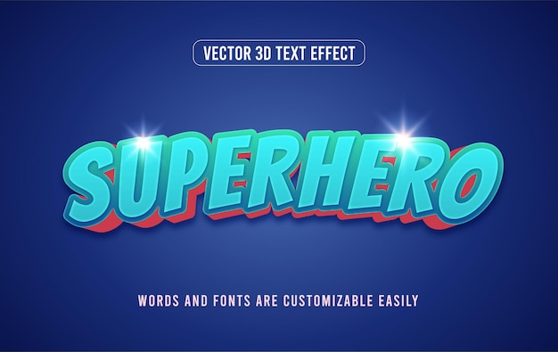 Blauw actie superheld komische stijl bewerkbaar teksteffect