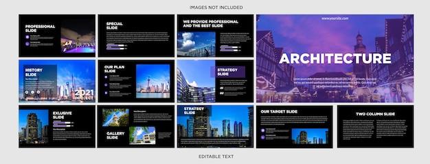 Blauw architectuurpresentatieontwerp