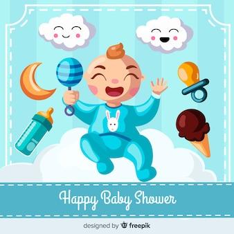 Blauw baby showermalplaatje voor jongen