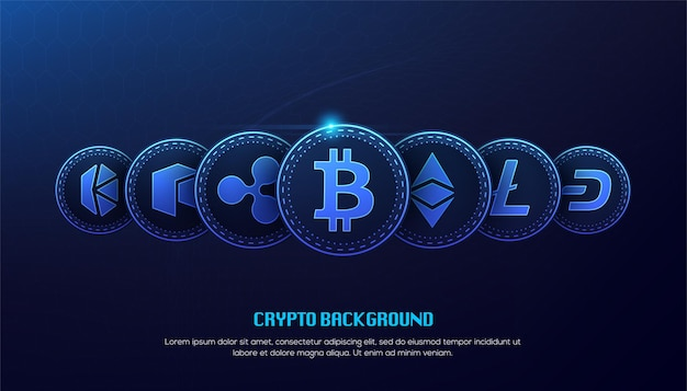 Blauw bitcoin blockchain-technologie 3d concept