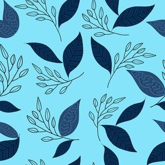 Blauw blad doodle naadloze patroon