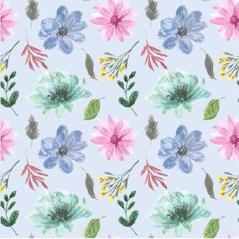 Blauw bloemen aquarel naadloos patroon