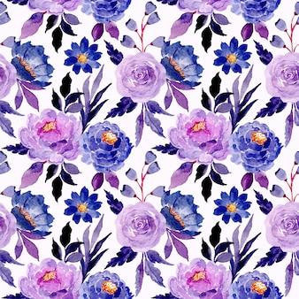 Blauw bloemenwaterverf naadloos patroon