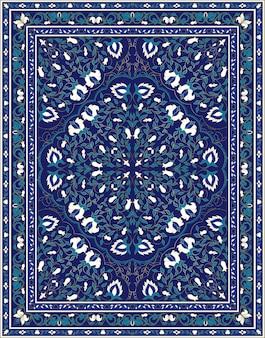 Blauw bloemmotief voor een tapijt, textiel.
