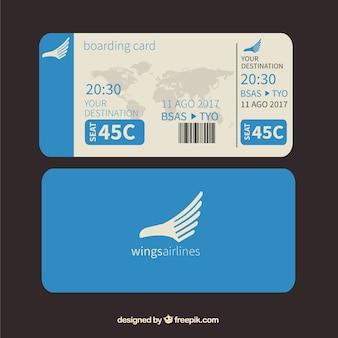 Blauw boarding pass met wereldkaart