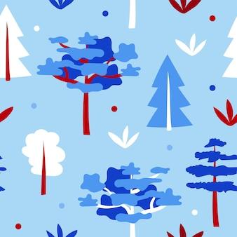 Blauw bos met bomen - cartoon naadloos patroon
