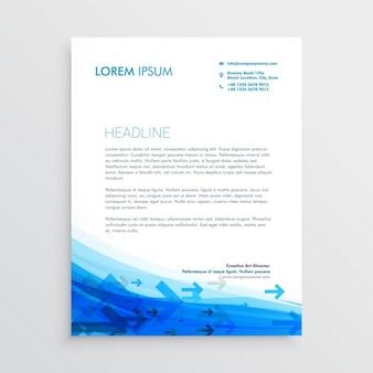 Blauw briefpapier ontwerp sjabloon met pijlen