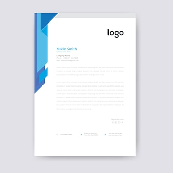Blauw briefpapier template