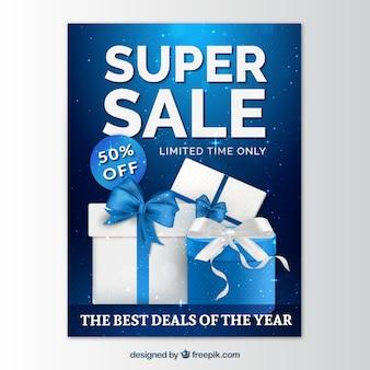 Blauw brochure van super verkopen met geschenken