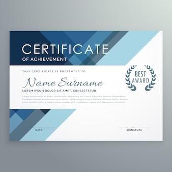 Blauw certificaat ontwerp in professionele stijl
