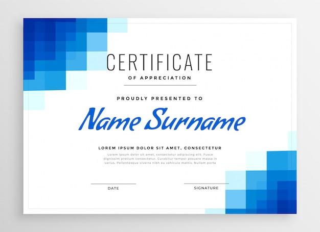 Blauw certificaat van appreciatiemalplaatje met mozaïekvormen