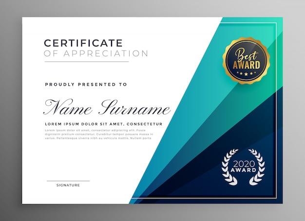 Blauw certificaat van waardering sjabloonontwerp