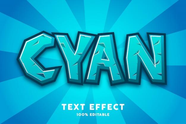 Blauw cyaan spel cartoon stijl teksteffect