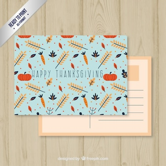 Blauw dankzegging postkaart