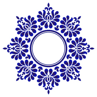 Blauw decoratief rond, decoratief cirkelkunstkader, abstracte bloemenornamentgrens, het ontwerp van het porseleinpatroon