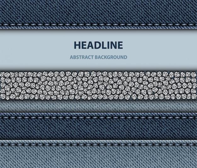 Blauw denim design met gestikte strepen