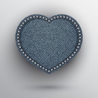 Blauw denim hart met zilveren pailletten