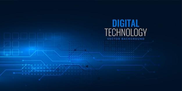 Blauw digitaal technologieconcept met het diagram van het kringsdraadnetwerk