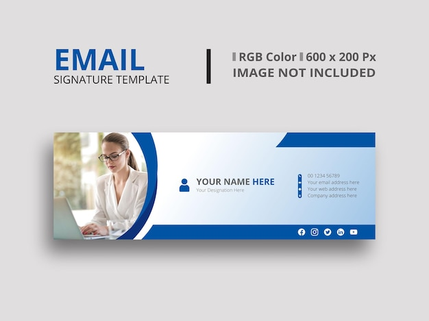 Blauw e-mailhandtekeningontwerp