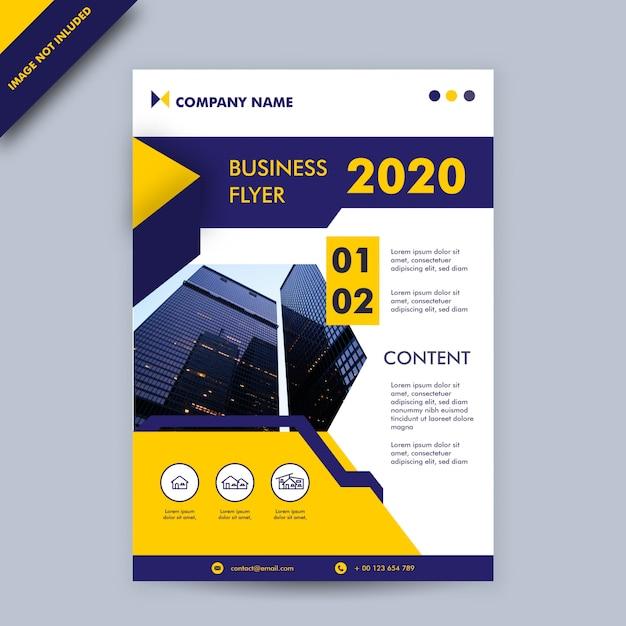 Blauw en geel kleurenjaarverslag en omslag bedrijfsdrukmalplaatje