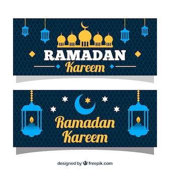Blauw en glod ramadan kareem banner