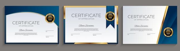 Blauw en goud certificaat van prestatie sjabloon ingesteld met gouden badge en rand.