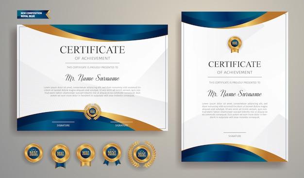 Blauw en goud certificaat van waardering grens sjabloon met luxe badge