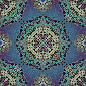 Blauw en goud patroon met mandala's.