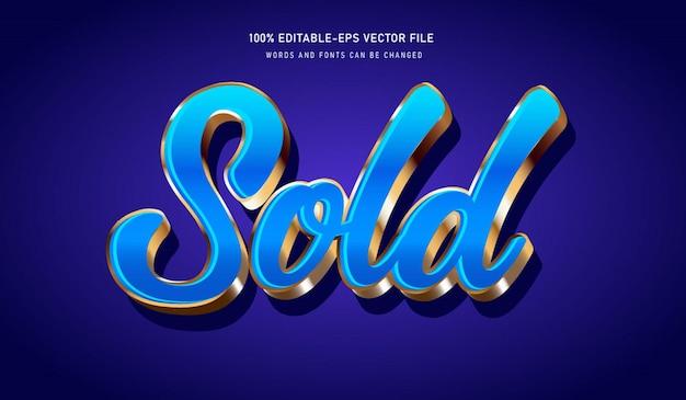 Blauw en goud verkocht teksteffect en bewerkbaar lettertype