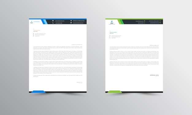 Blauw en groen abstract briefpapier template