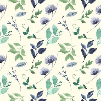 Blauw en groen blad bloemen aquarel naadloos patroon