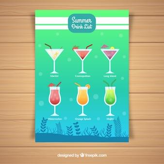 Blauw en groen cocktailmenu