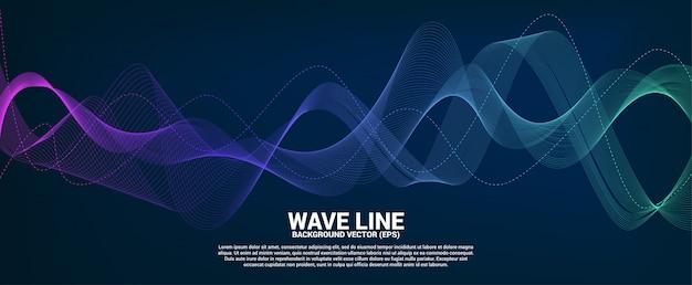 Blauw en groen geluidsgolf lijn curve op donkere achtergrond.