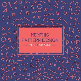 Blauw en oranje memphis patroon