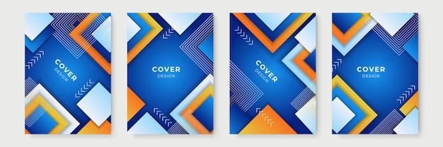 Blauw en oranje voorbladsjabloon. abstracte geometrische omslagontwerpen met kleurovergang, trendy brochuresjablonen, kleurrijke futuristische posters. vector illustratie