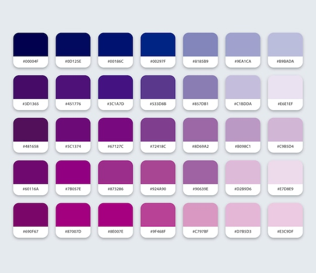 Blauw en paars kleurenpalet met hex