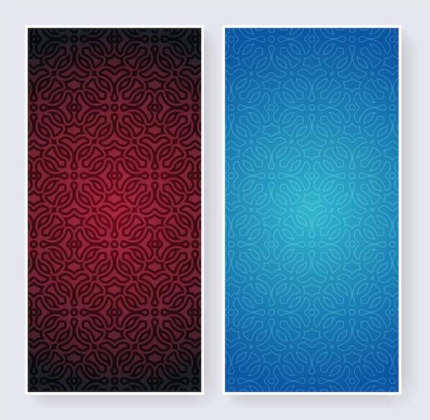 Blauw en rood retro label met kalligrafisch vectorlogo. antieke monogram collectie.