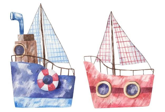 Blauw en rood schip met zeil, schattige waterverfillustratie voor kinderen op witte achtergrond
