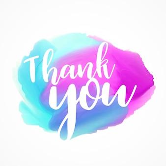 Blauw en roze aquarel splash of verf slag met brief dank u