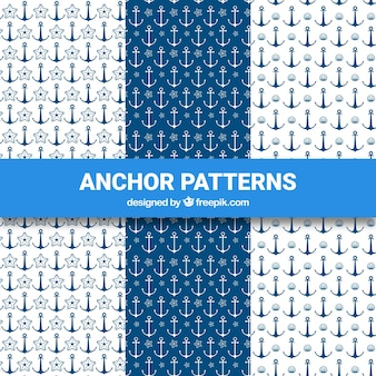 Blauw en wit anker patroon collectie