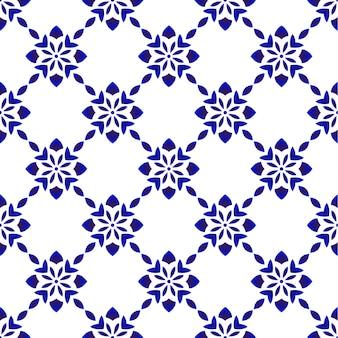 Blauw en wit bloemen naadloos patroon
