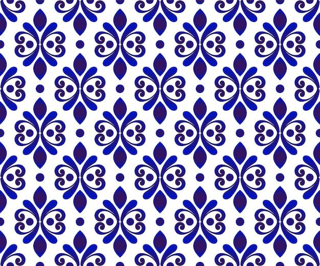 Blauw en wit bloemenbehang