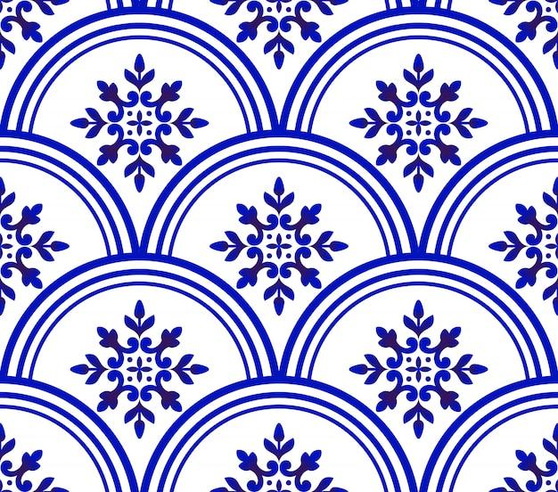 Blauw en wit damastpatroon
