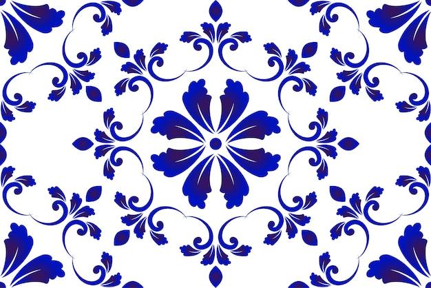 Blauw en wit decoratief patroon