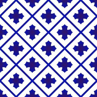 Blauw en wit keramisch thais patroon