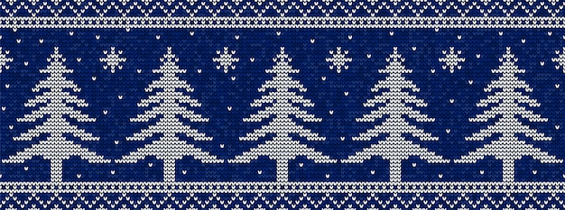 Blauw en wit kerstmis breiend patroon