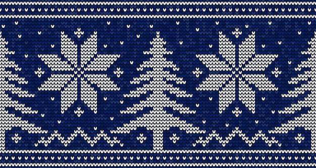 Blauw en wit kerstmis naadloos patroon breien