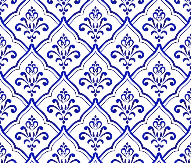 Blauw en wit koninklijk barok en damastpatroon